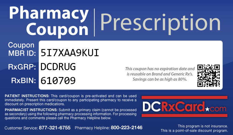 DC Rx Card - Free Prescription Drug Coupon Card